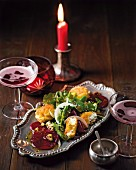 Beetroot carpaccio with breaded goats cheese for Valentine's Day