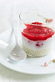 Tapioca pudding with rhubarb coulis
