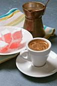 Greek coffee served with lokum