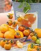 Mandarin and yellow tomato skewers