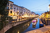 Eveing atmosphere at the Naviglio Grande, Ripa di Porta Ticinese, Milan