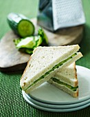 A cucumber sandwich with cream cheese