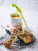 Sesame seed bread with cream of vegetable soup