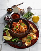 Chicken with chorizo in red wine (Spain)