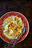 Fettuccine con nocciole with butternut squash, roasted hazelnuts and a creamy sauce (Italy)