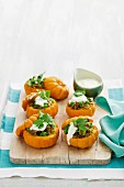 Baby pumpkins stuffed with curried beef
