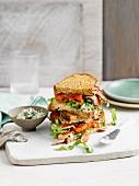 Basil mayo BLT sandwich