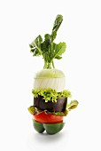 Gemüseturm aus Paprikaschote, Tomate, Aubergine, Salat, Zwiebel und Kohlrabi