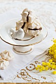 Meringues filled with chocolate cream