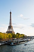 The Eiffel Tower, Paris' landmark, seen from the River Seine