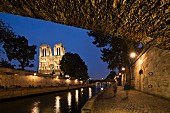 Notre Dame and the Seine by night, Paris