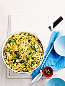 Tuna pasta with corn & avocado