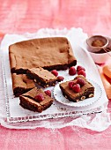 Hazlenut & raspberry brownies