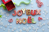 Decorated letter biscuits spelling JOYEUX NOEL