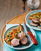 Lamb chops with a sweet potato salad