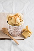 Caramel ice cream with homemade toffees