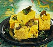 Dhokla (fluffy chickpeas cake, India)