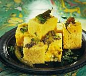 Dhokla (fluffy chickpeas cake, India)