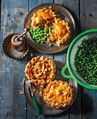 Mini chicken and chorizo pies with peas