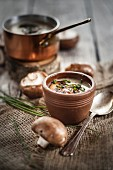 Cream of mushroom soup with chives and fried mushrooms