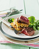 Fried ostrich fillet with sweet potatoes