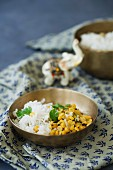 Basmati rice and yellow lentils with mustard seeds and coriander