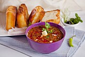 Pav bhaji (spicy vegetable sauce with bread rolls, India)
