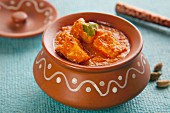 Shahi paneer (cream cheese in a creamy tomato sauce, India)