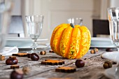 A yellow pumpkin, chestnuts and acorns on an autumnal laid table