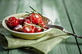 Pickled cherry peppers filled with cream cheese