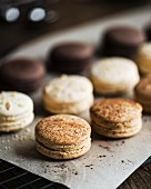 Cappucno, almond and chocolate macaroons