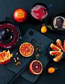Blood oranges and kumquats with juice