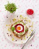 Belegtes Vollkornbrot mit Rote-Bete-Aspik, Ei, Mayonnaise, Kresse und Rettichsprossen