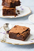 Brownies on an old-fashioned plate