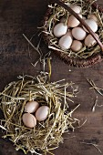 Fresh eggs in a straw nest and in a basket