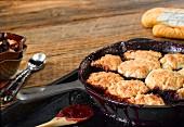 Blackberry cobblers in a pan