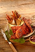 Memphis style ribs with fries (USA)
