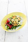 Rocket salad with grilled vegetables