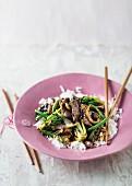 Rindfleisch in Austernsauce mit Reis
