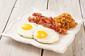 Fried eggs with bacon and sauerkraut (paleo breakfast)