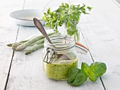 Asparagus pesto with basil and parsley