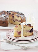 Apple and berry teacake with liquid cream