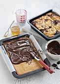 Freshly baked marbled cake with chocolate glaze