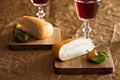 Chaumes cheese with fig jam and red wine