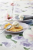 Quark waffles with ice cream