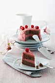 A chocolate cake with raspberry butter cream