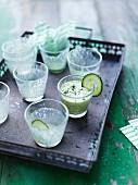 Cucumber drinks in shot glasses