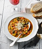 Minestrone con il parmigiano (vegetable soup with Parmesan cheese, Italy)