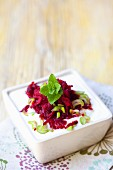 Quark with beetroot and mint