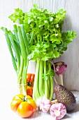 Celery, spring onions, garlic, tomatoes and avocado